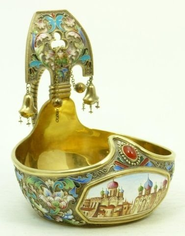 RUSSIAN IMPERIAL ENAMEL OVER SILVER HANDLED KOVSH