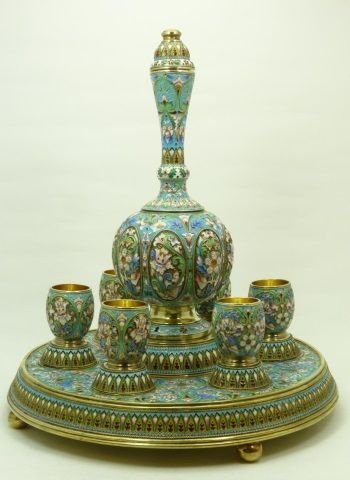 RUSSIAN IMPERIAL SILVER & ENAMEL WINE SET