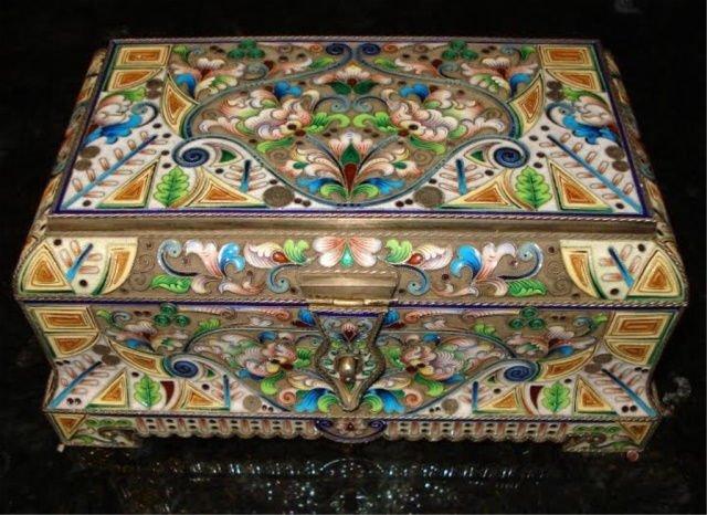 IMPRESSIVE  LARGE RUSSIAN SILVER ENAMEL BOX