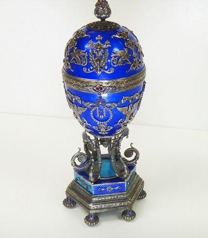 HUGE RUSSIAN SILVER ENAMEL EGG WITH DIAMONDS & SU