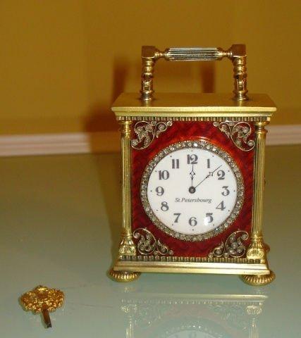 RARE RUSSIAN SILVER & ENAMEL CLOCK