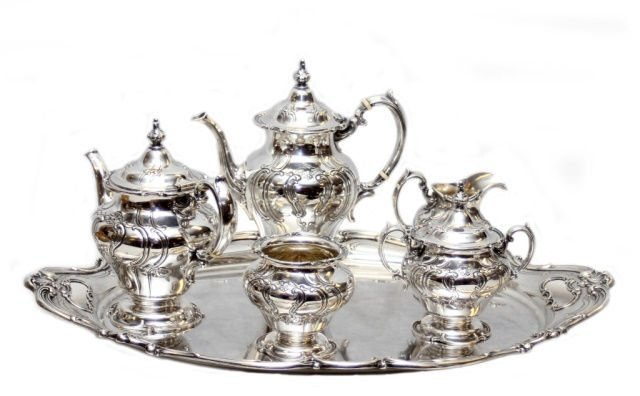 6pc GORHAM CHANTILLY STERLING SILVER TEA SET, 1944