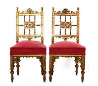 Pr OF ANTIQUE AMERICAN AESTHETIC GILT SIDE CHAIRS