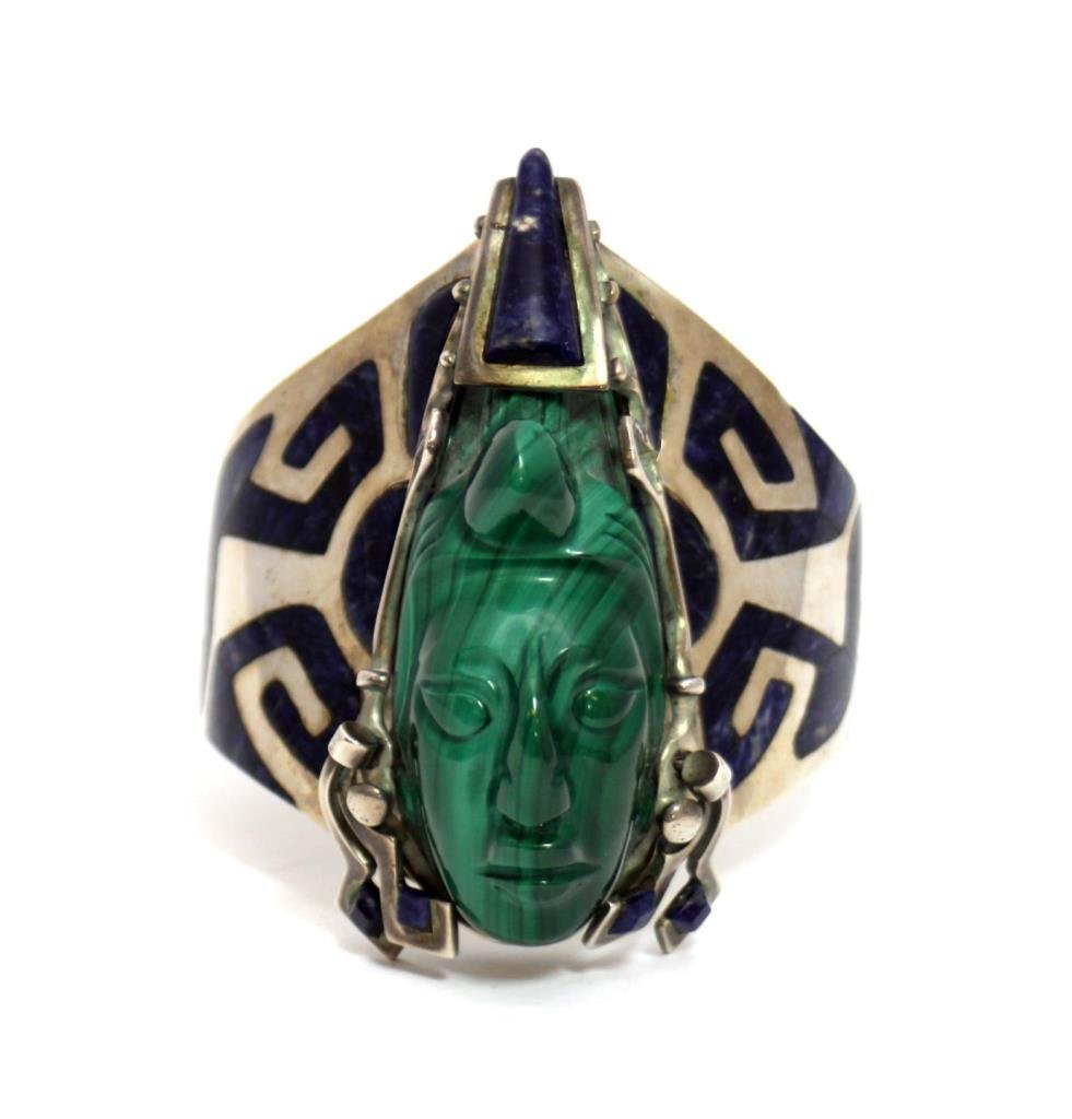 CENTRAL AMERICAN STERLING LAPIS MALACHITE BANGLE