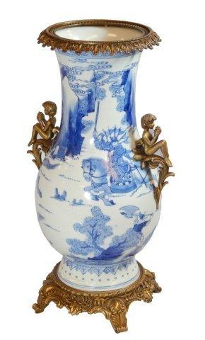 19th C CHINESE BLUE & WHITE ORMULO MOUNTED VASE