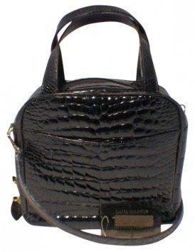 Lana Marks Patent Alligator Mini Handbag Black Bag
