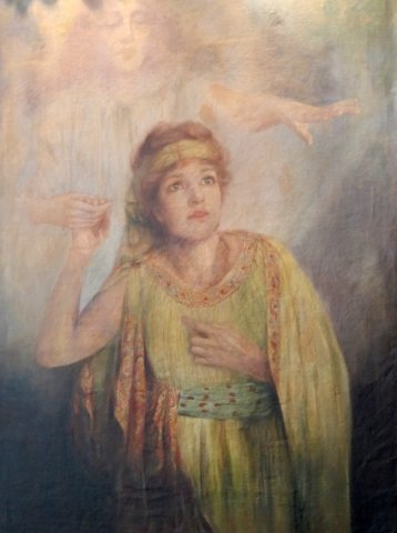 1763 R. MACKELL OIL ON CANVAS OF GIRL w ANGELS