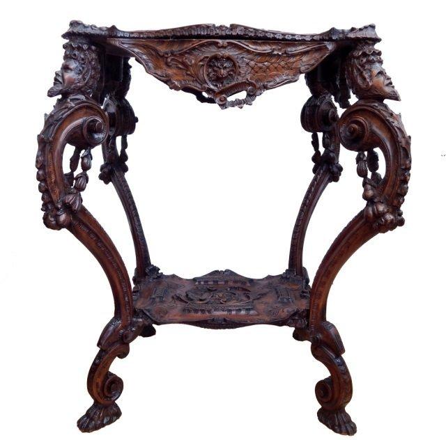 IMPRESSIVE ITALIAN 1860's CARVED OAK SATYR TABLE