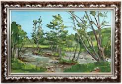 JANE PETERSON OIL PAINTING ON CANVAS OF STREAM