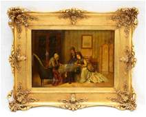 19th C ITALIAN OIL ON BOARD FORTUNE TELLER SCENE