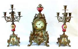 ANTIQUE FRENCH METAL & PORCEAL CLOCK GARNITURE SET
