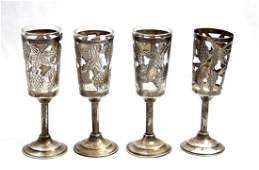 FOUR ART STERLING SILVER GRAPECLUSTER CORDIALS