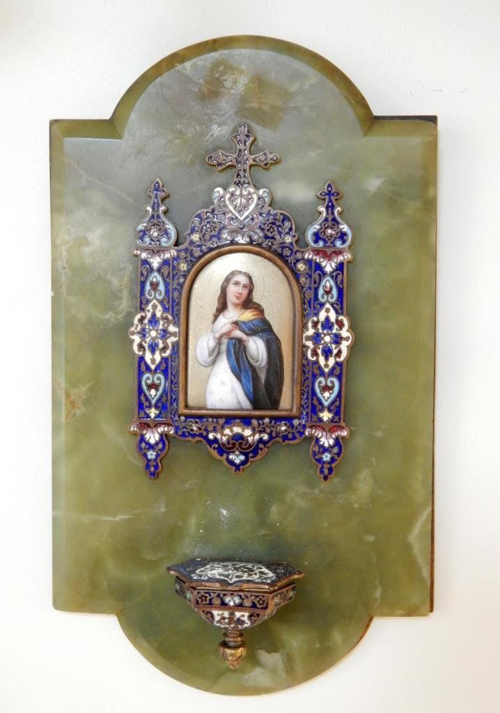 ANTIQUE RELIGIOUS ENAMELED MARY HOLY WATER FONT