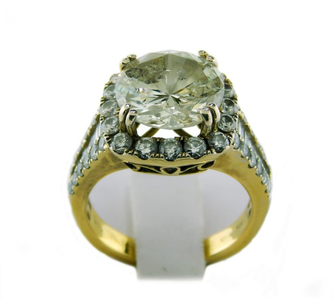18K YG 5.10CT DIAMOND SOLITAIRE ENGAGEMENT RING