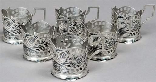 19th CENTURY SILVER NIELLO TEA GLASS HOLDERS