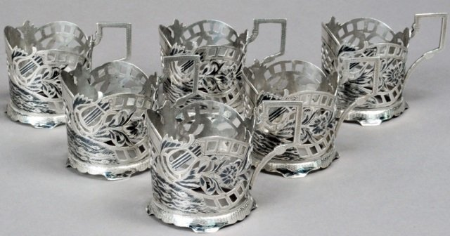 19th CENTURY SILVER NIELLO TEA GLASS HOLDERS