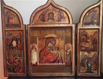 19th CENTURY RUSSIAN ICON ORTHODOX TRIPTYCH