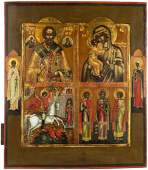 RUSSIAN ICON WITH FOUR SCENES, 19TH CENTURY