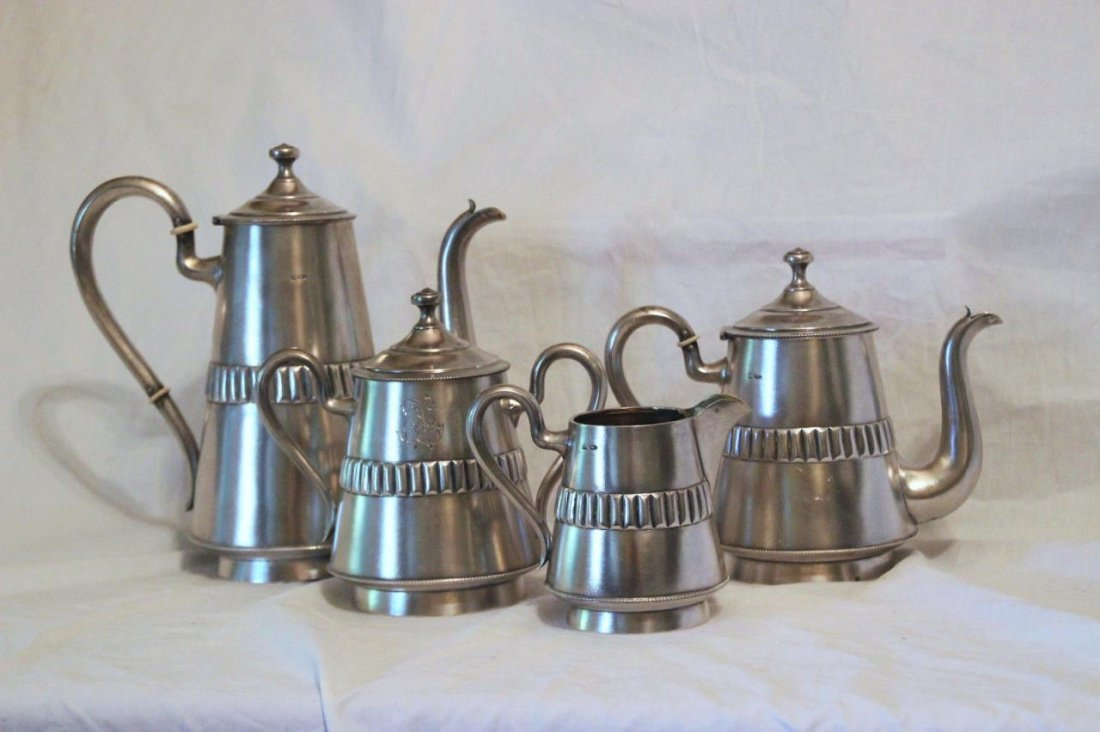 ANTIQUE RUSSIAN SILVER 4pc COFFEE & TEA SET