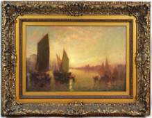CARL MULLER OIL PAINTING ON CANVAS OF SHIP SCENE