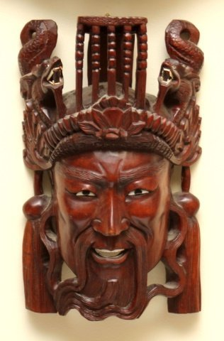CHINESE CARVED WOODEN EMEROR MASK WALL PLAQUE