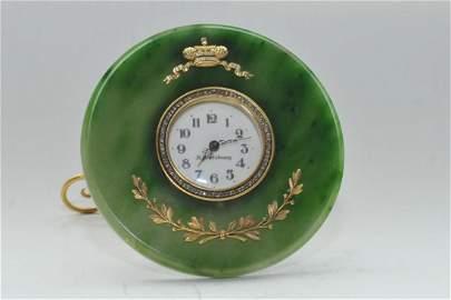 RUSSIAN SILVER & NEPHRITE JADE ROUND CLOCK