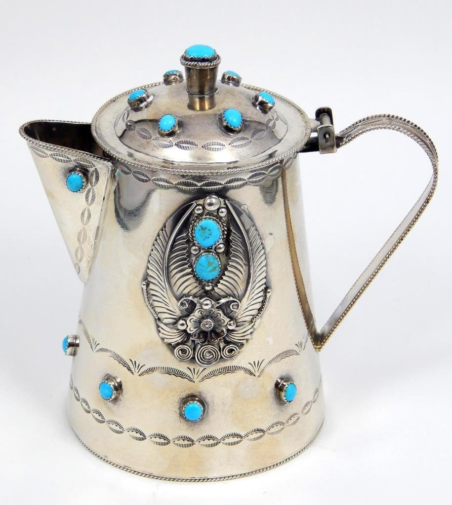 NAVAJO STERLING TEA POT WITH TURQUOISE