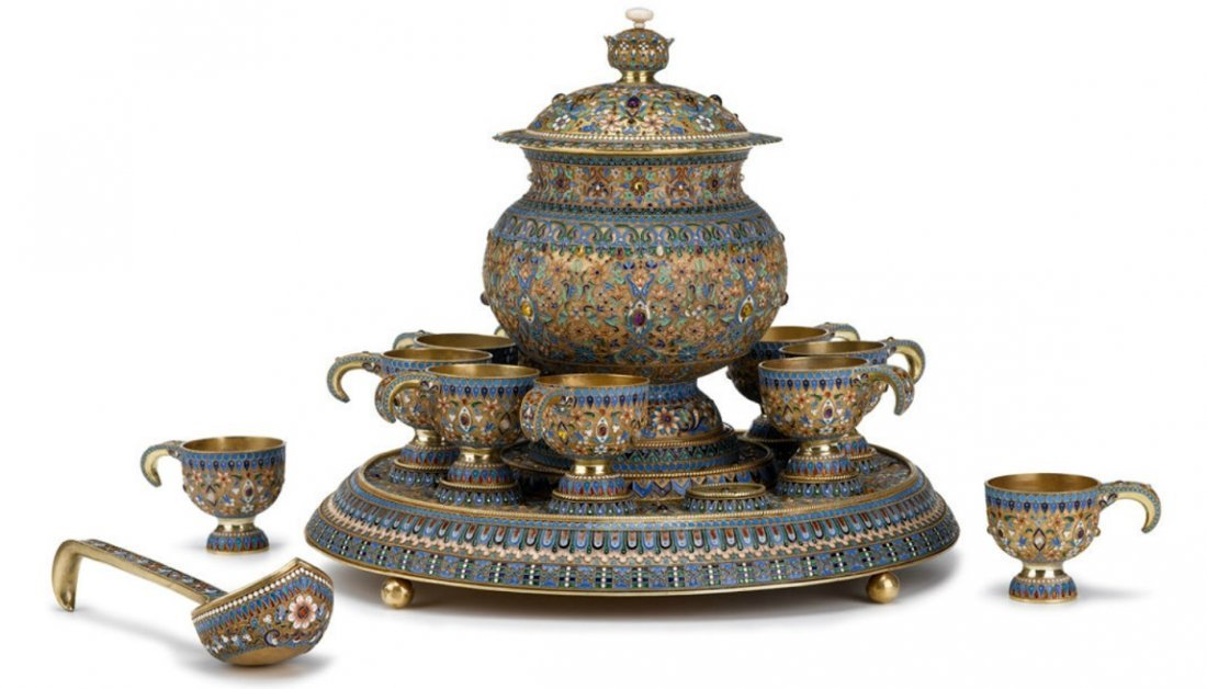 LARGE RUSSIAN SILVER-GILT ENAMELED PUNCH SET