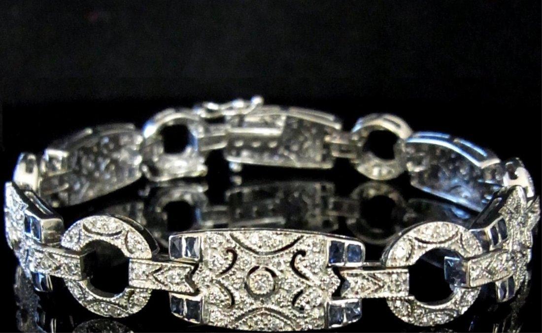 Diamond Blue Sapphire 18k White Gold Bracelet