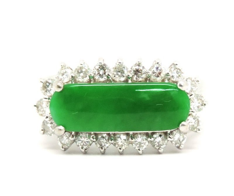 Diamond 2.60ct Imperial Jade 18K Gold Ring