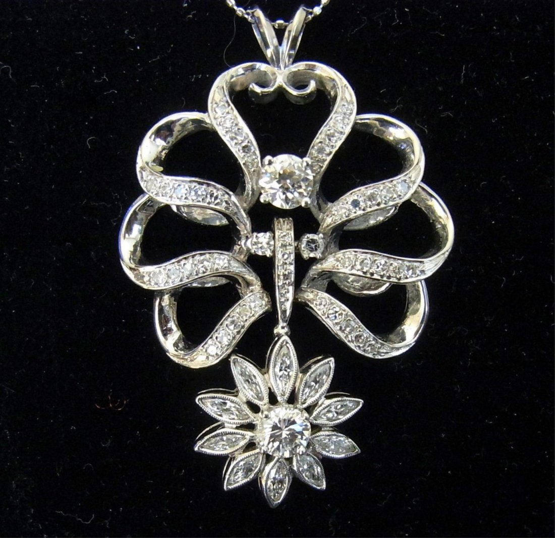 2ct Diamonds14kt Floral Pendant &Enhanser necklace