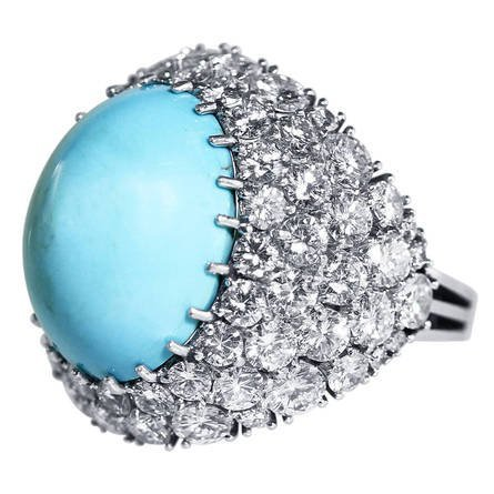 Modern Turquoise Cabochon Diamond Gold Ring