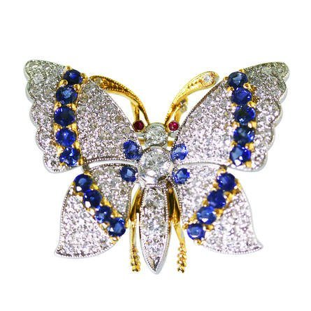 Sapphire Diamond Gold Platinum Butterfly Brooch