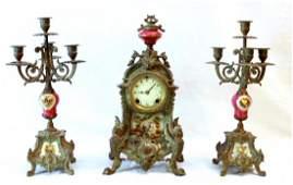 ANTIQUE FRENCH METAL PORCELAN CLOCK GARNITURE SET