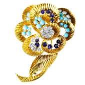 1960s Gubelin Turquoise Sapphire Diamond brooch