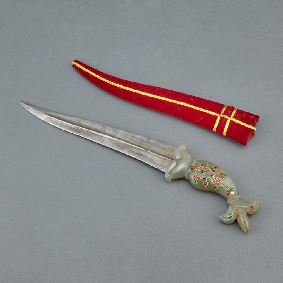 Mughal Style Dagger with Carved jader Handle