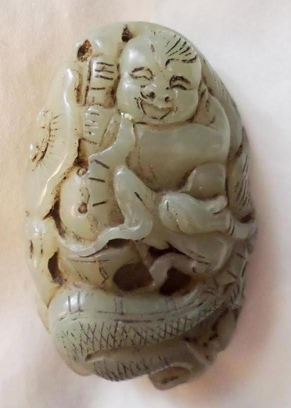 ANTIQUE CHINESE JADE BOY & DRAGON SCULPTURE