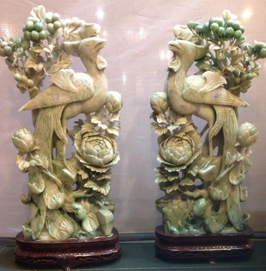 Pr.Of Lavender And Apple Green Jadite Figures