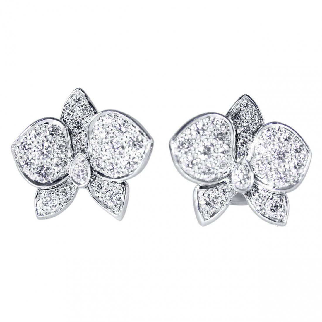 Cartier Diamond and White Gold Orchid Earrings
