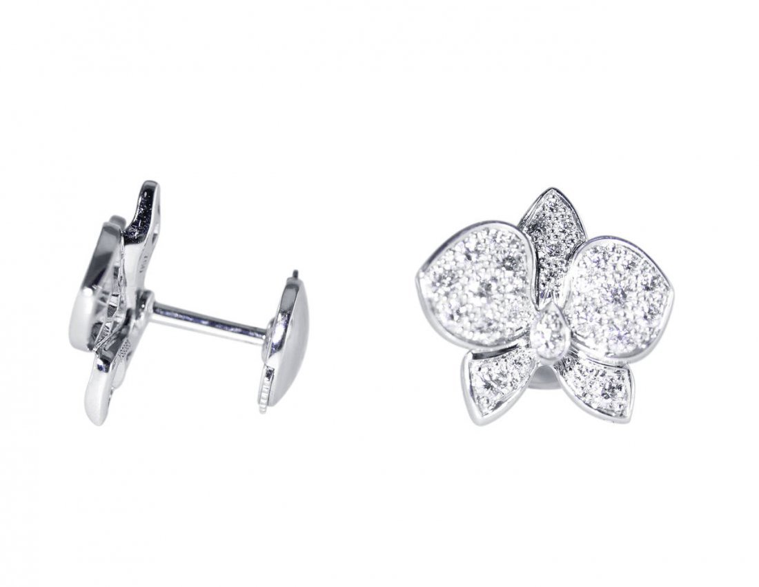 Cartier Diamond and White Gold Orchid Earrings - 2