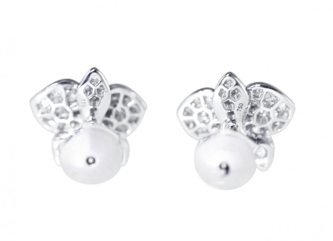 Cartier Diamond and White Gold Orchid Earrings - 3