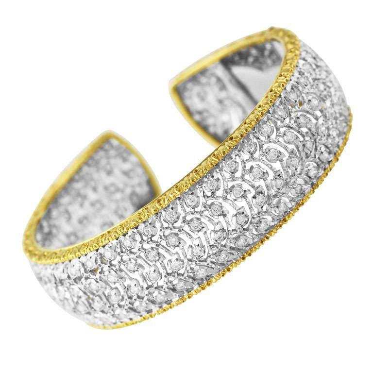Buccellati Diamond and Gold Cuff Bracelet
