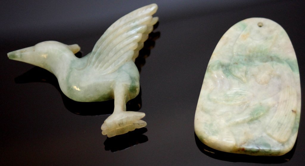 LOT OF 2 CHINESE CARVED JADEITE BIRD ITEMS