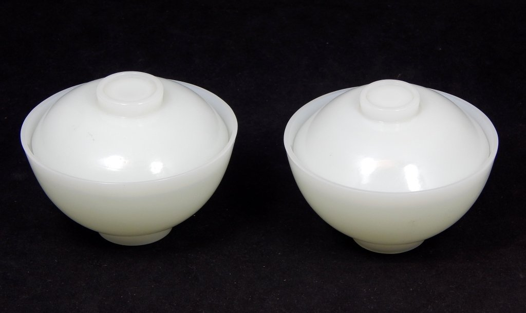 Pr. CHINESE WHITE JADE BEIJING GLASS COVERED BOWLS
