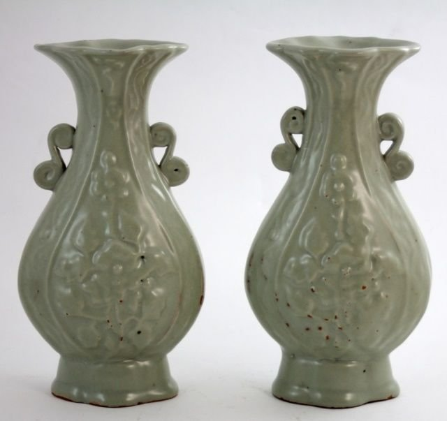 PAIR OF CHINESE CELADON GLAZED VASES