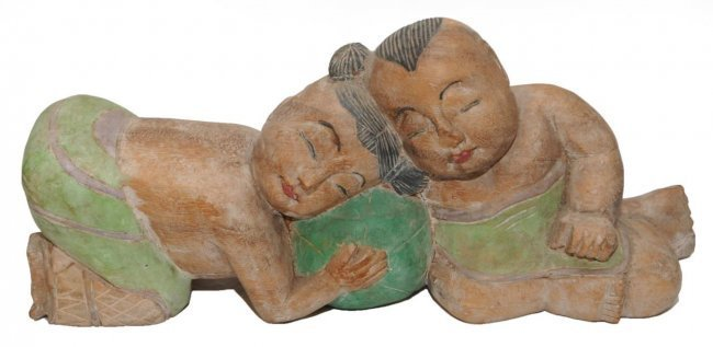 REPUBLIC PERIOD CARVED GROUPING OF CHILDREN