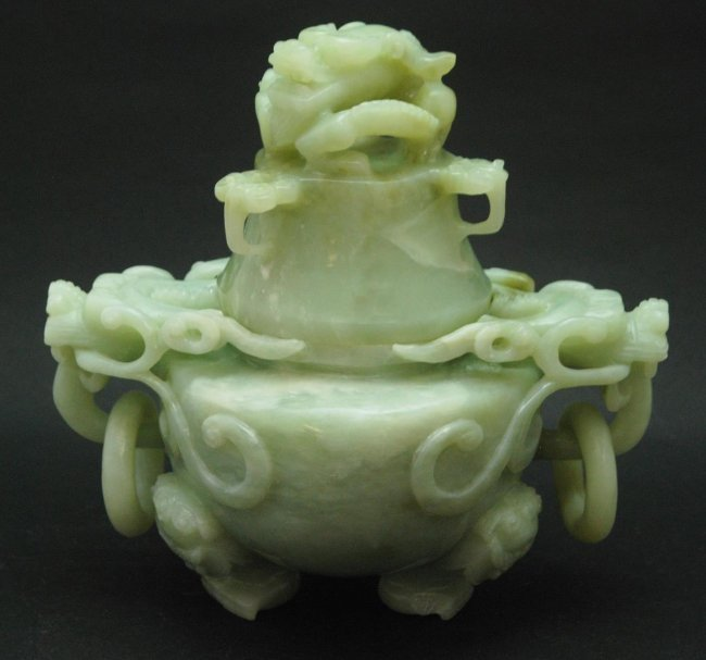 CHINESE GREEN JADE DRAGONS TRIPOD CENSER