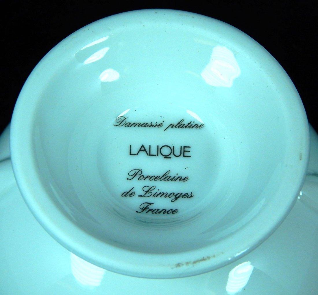 LALIQUE PORCELAIN DAMASSE PLATINE COV'D SUGAR - 4