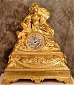 HUGE EMPIRE FRENCH ANTIQUE GILT BRONZE CLOCK