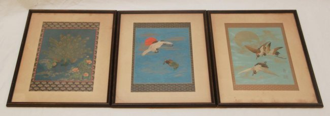 3 CHINESE OIL PAINTINGS ON PAPER OF ANIMAL SCENES